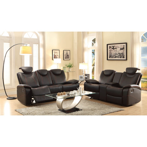 Homelegance Talbot 2 Piece Living Room Set in Black Leather
