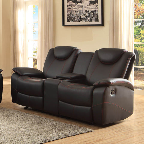 Homelegance Talbot Double Reclining Loveseat in Black Leather