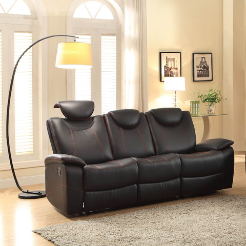 Homelegance Talbot Double Reclining Sofa in Black Leather