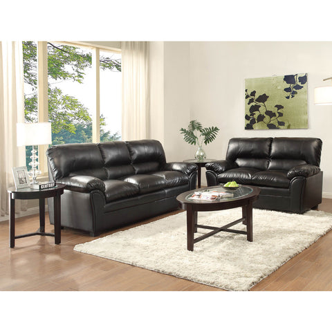Homelegance Talon 2 Piece Living Room Set in Black Leather