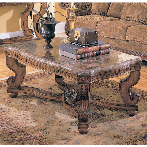 Homelegance Tarantula Rectangular Cocktail Table w/ Marble Top