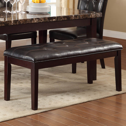 Homelegance Teague 49 Inch Bench w/ Dark Brown Bi-Cast Vinyl in Espresso