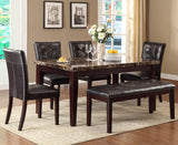 Homelegance Teague 6 Piece Faux Marble Dining Room Set in Espresso