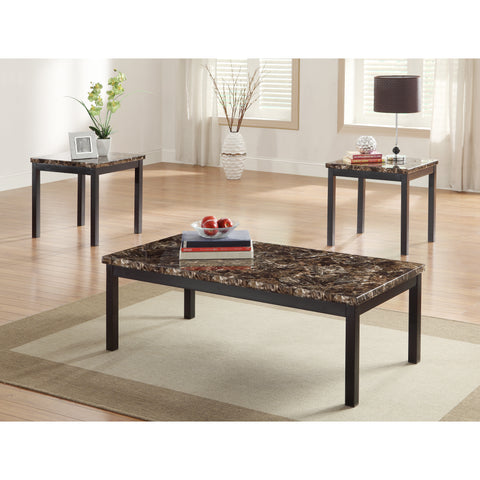 Homelegance Tempe 3 Piece Coffee Table Set w/ Faux Marble Top
