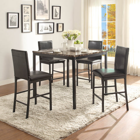 Homelegance Tempe 5 Piece Counter Height Table Set w/ Faux Marble Top