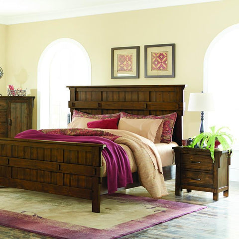 Homelegance Terrace 2 Piece Panel Bedroom Set in Rustic Burnished Oak