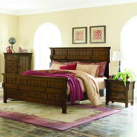 Homelegance Terrace 3 Piece Panel Bedroom Set in Rustic Burnished Oak