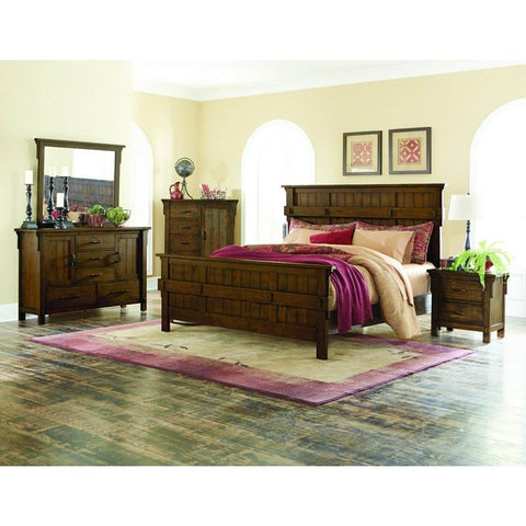 Homelegance Terrace 4 Piece Panel Bedroom Set in Rustic Burnished Oak