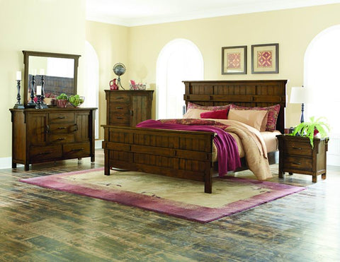 Homelegance Terrace 5 Drawer 2 Door Dresser & Mirror in Rustic Burnished Oak