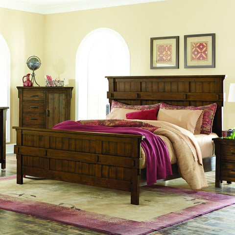 Homelegance Terrace Panel Bed in Rustic Burnished Oak