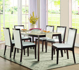 Homelegance Tijeras Faux Marble Top Dining Table in Dark Wood