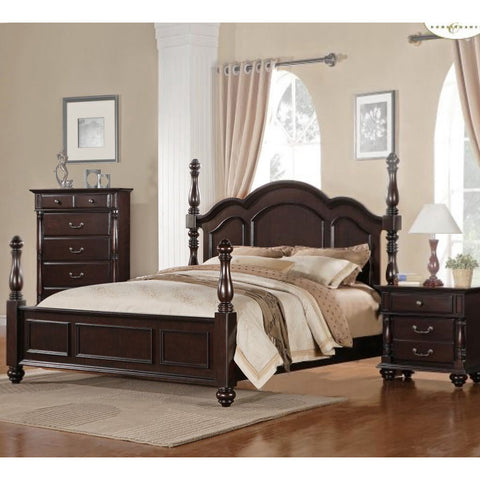 Homelegance Townsford 3 Piece Poster Bedroom Set in Dark Cherry