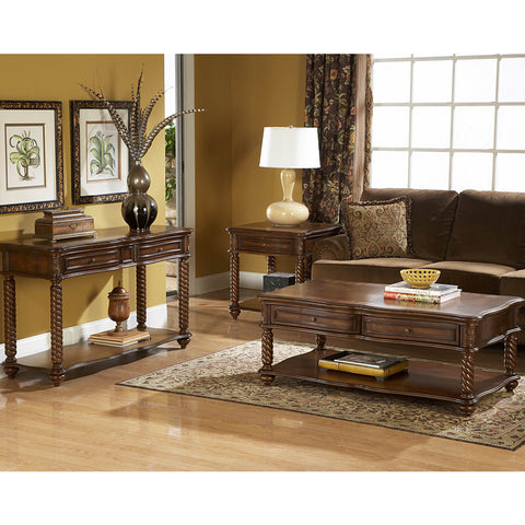 Homelegance Trammel 3 Piece Coffee Table Set w/ Working Drawers
