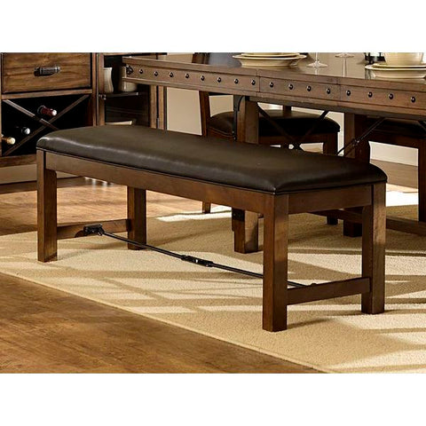Homelegance Urbana Bench In Dark Brown Bi-Cast Vinyl / Burnished