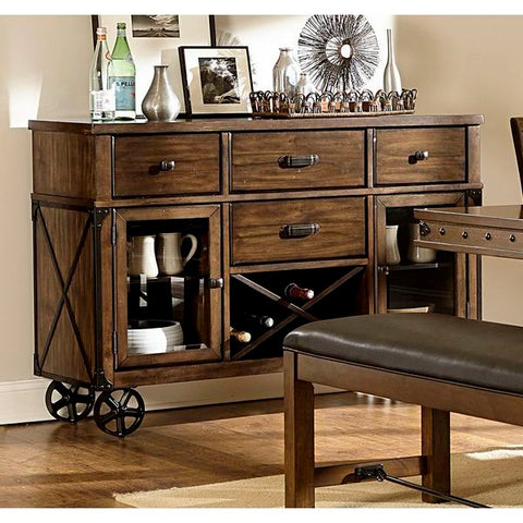 Homelegance Urbana Server, Wheels In Burnished