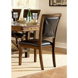 Homelegance Urbana Side Chair, X Metal Back In Dark Brown Bi-Cast Vinyl / Burnished