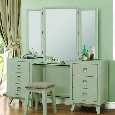 Homelegance Valpico Vanity Table & Mirror in Cool Grey & Olive
