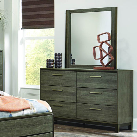 Homelegance Vestavia 6 Drawer Dresser & Mirror in Grey