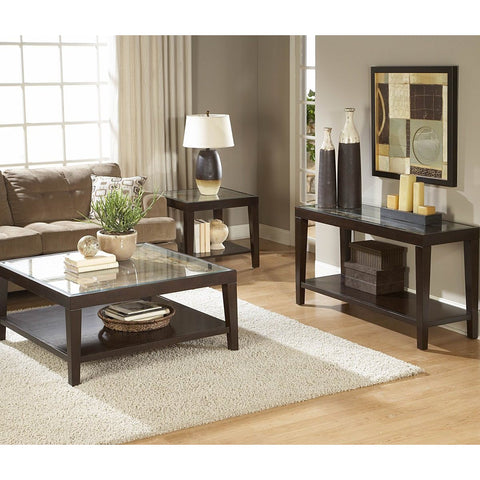 Homelegance Vincent 3 Piece Coffee Table Set w/ Glass Overlay