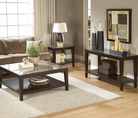 Homelegance Vincent Rectangular Wood Sofa Table w/ Glass Overlay