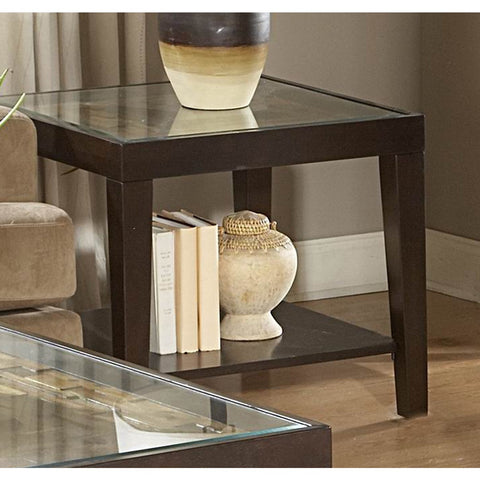 Homelegance Vincent Square Wood End Table w/ Glass Overlay