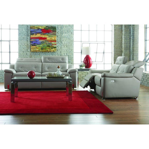 Homelegance Vortex 2 Piece Reclining Living Room Set in Light Grey Leather