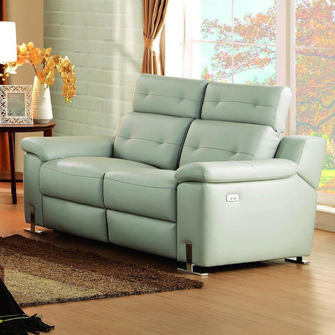 Homelegance Vortex Power Double Reclining Loveseat in Light Grey Leather