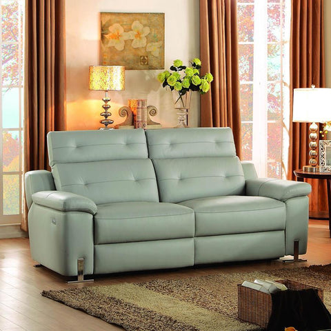 Homelegance Vortex Power Double Reclining Sofa in Light Grey Leather