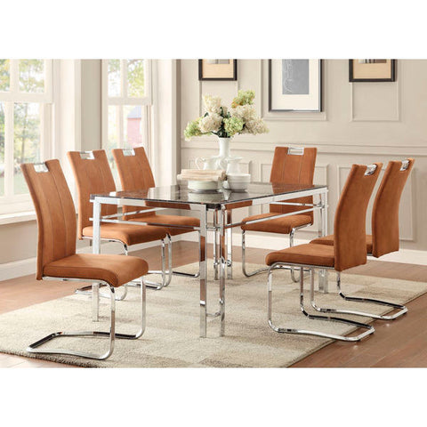 Homelegance Watt Dining Table With Faux Marble, Chrome In Faux Marble / Chrome Frame