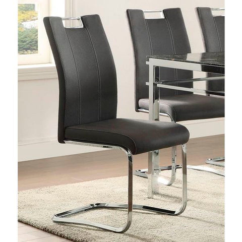 Homelegance Watt Side Chair In Dark Grey Fabric