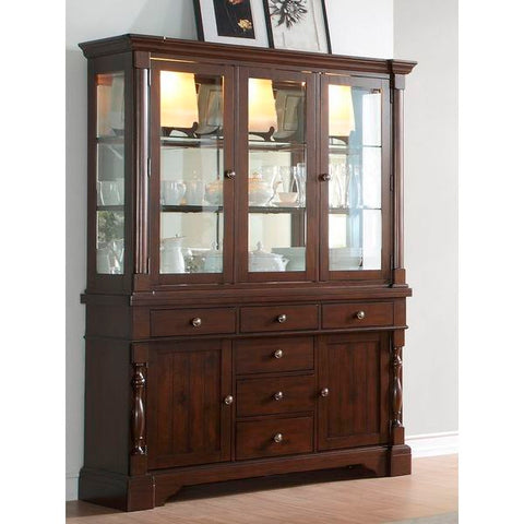 Homelegance Yates China & Buffet In Burnished Dark Oak