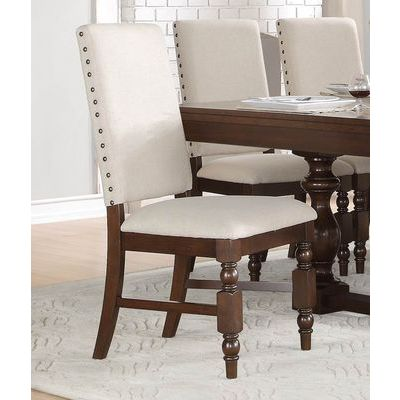 Homelegance Yates Side Chair, Linen In Neutral Fabric / Burnished Dark Oak