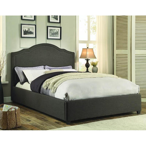 Homelegance Zaira Upholstered Platform Bed in Dark Grey