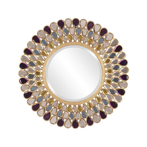Howard Elliott 11111 Grace Amethyst, Amber & Topaz Glass Teardrop Frame Mirror