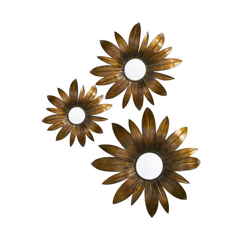 Howard Elliott 13314 Fleur 3-D Antique Copper & Gold w/ Black Accents and Convex Mirrors - set of 3 Mirror