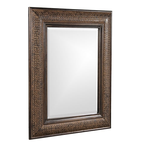 Howard Elliott 37045 Grant Rectangular Antique Brown Mirror w/ Textured Copper Overlay