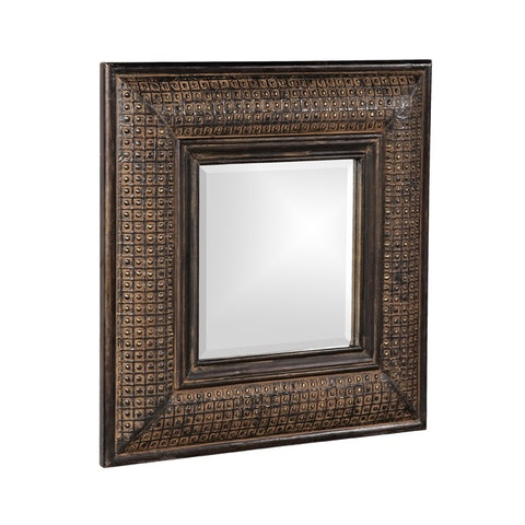 Howard Elliott 37046 Grant Square Antique Brown Mirror w/ Textured Copper Overlay