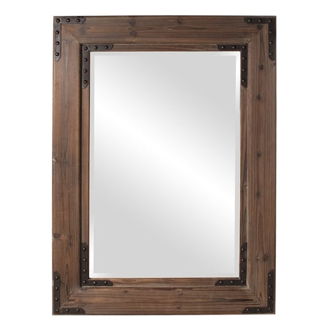 Howard Elliott 37068 Caldwell Rectangular Stained Natural Wood Mirror w/ Black Iron Accents