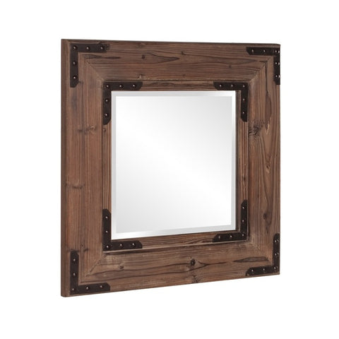 Howard Elliott 37069 Caldwell Square Stained Natural Wood Mirror w/ Black Iron Accents