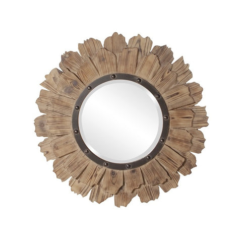 Howard Elliott 37075 Hawthorne Layered Natural Wood with Black Iron Accents Mirror