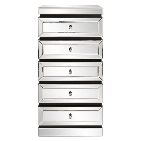 Howard Elliott 5-Tiered Mirrored Tower w/ Drawers