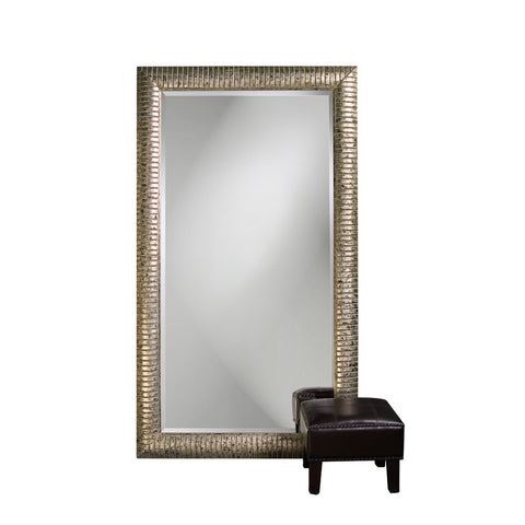 Howard Elliott 5198 Daniel Mottled Silver Leaf Mirror w/ Black Patina Leaner