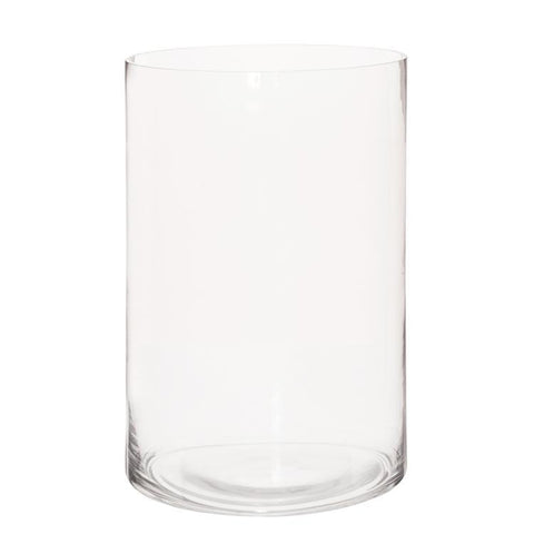 Howard Elliott Clear Hand Blown Glass Cylinder Vase-Wide