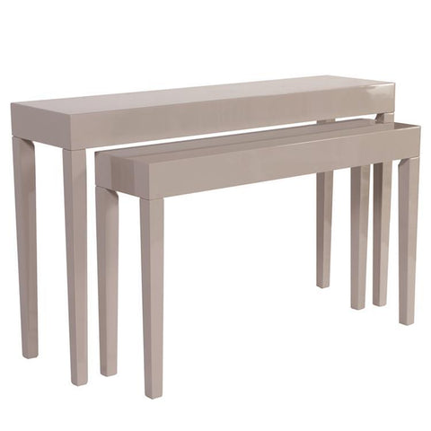 Howard Elliott Glossy Taupe Nesting Console Table Set
