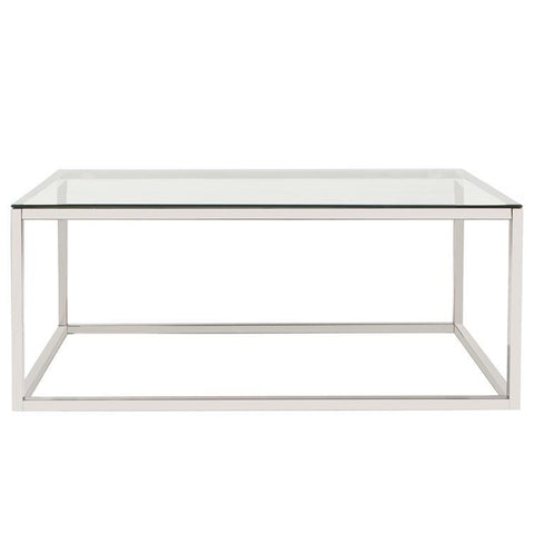 Howard Elliott Rectangular Stainless Steel Coffee Table - Clear