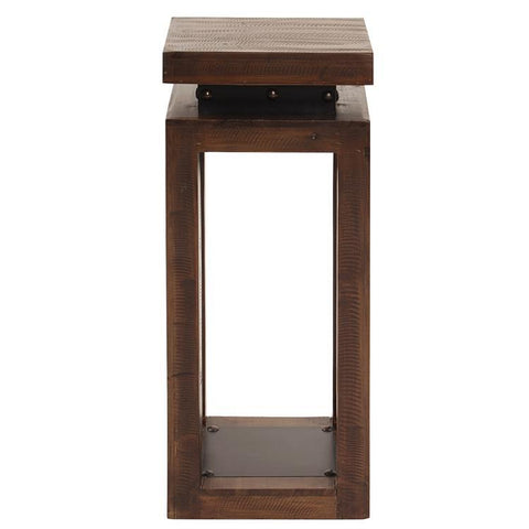Howard Elliott Rustic Wood Pedestal w/Iron Accents - Small