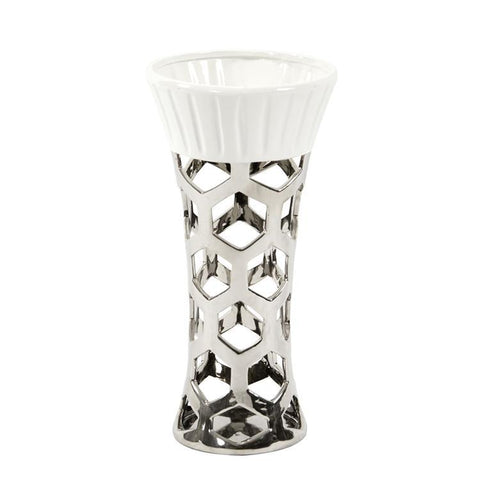 Howard Elliott Silver Vase w/Hexagon Cut Outs & White Ceramic Top-Small