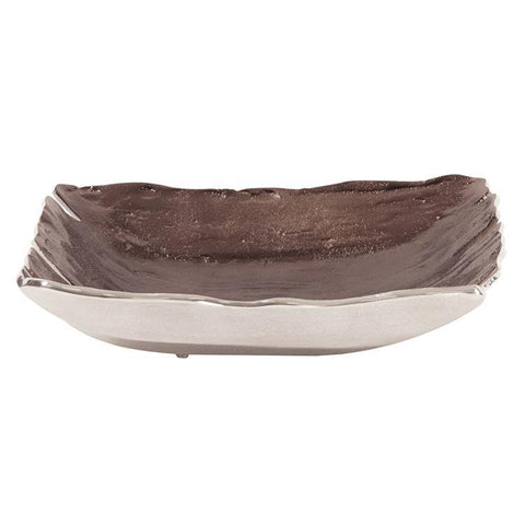 Howard Elliott Square Smoky Bronze Aluminum Bowl-Small