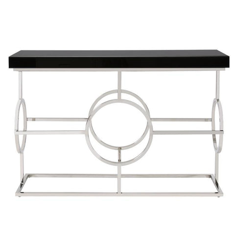 Howard Elliott Stainless Steel Console Table w/Black Top