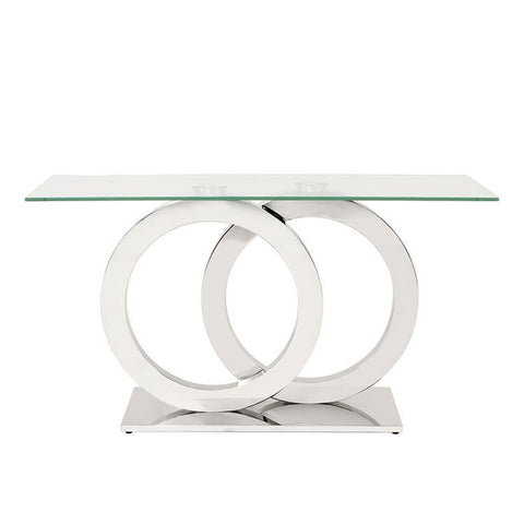 Howard Elliott Stainless Steel Console Table w/Circular Base